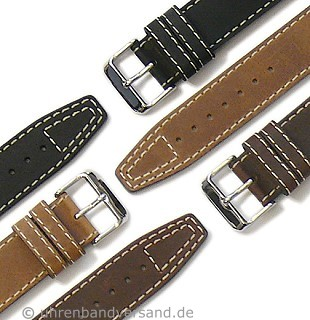 Military watch strap \-Nevada\- leather light stitching by DI-MODELL