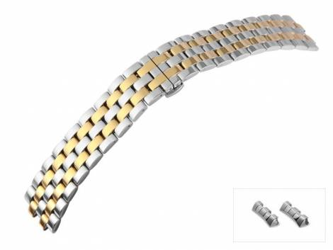 Watch strap 20mm bicolor stainless steel solid polished curved ends with butterfly clasp - Bild vergrößern