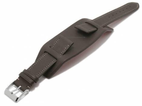 Watch strap -Bund Bravus- 22mm dark brown leather with leather pad by ATELIER FERRER CHANNEL (width of buckle 20 mm) - Bild vergrößern