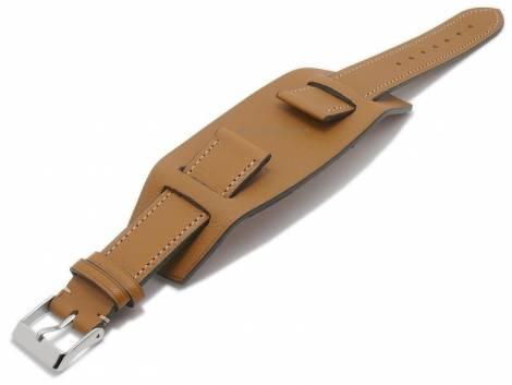 Watch strap -Bund Bravus- 22mm light brown leather with leather pad by ATELIER FERRER CHANNEL (width of buckle 20 mm) - Bild vergrößern