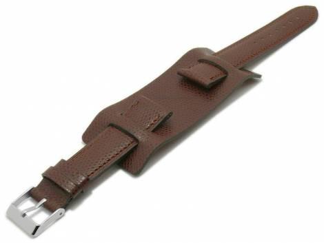 Watch strap -Bund Bullhead- 22mm dark brown leather with leather pad by ATELIER FERRER CHANNEL (width of buckle 20 mm) - Bild vergrößern