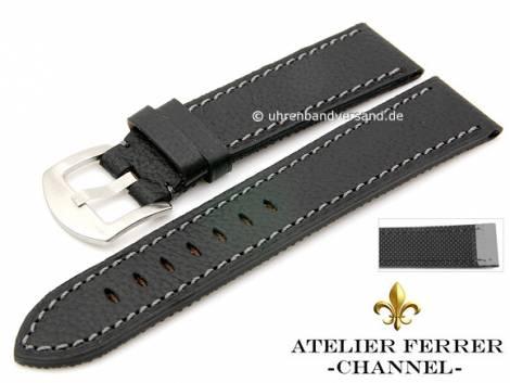 Watch strap -Bufalo Xtreme Caucho- 22mm black leather grained by ATELIER FERRER CHANNEL (width of buckle 20 mm) - Bild vergrößern