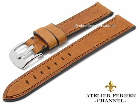 Watch strap -Antilope Cosida- 22mm light brown vintage brown stitched by ATELIER FERRER CHANNEL (width of buckle 20 mm) - Bild vergrößern