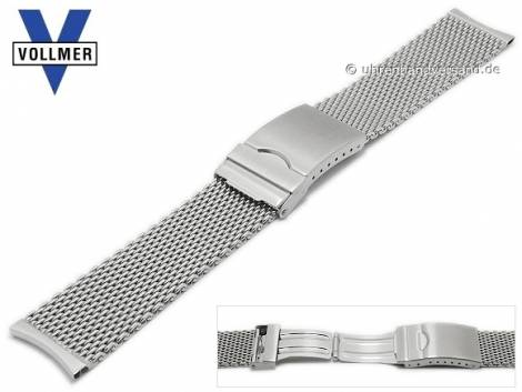 Watch strap -Fellbach- 22mm stainless steel mesh medium structure curved ends with clasp by VOLLMER - Bild vergrößern