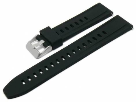 Basic-watch strap EASY-CLICK 22mm black silicone with easy change spring bars (width of buckle 21 mm) - Bild vergrößern