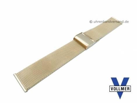Watch strap -Metzingen- 21mm golden stainless steel mesh light structure with slide clasp by VOLLMER - Bild vergrößern