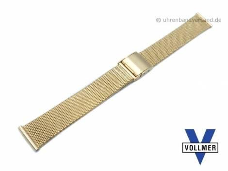 Watch strap -Bruchsal- 17mm golden stainless steel mesh light structure with slide clasp by VOLLMER - Bild vergrößern