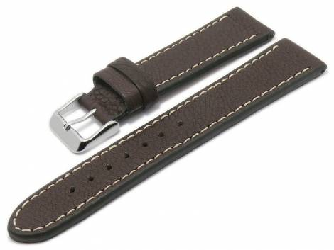 Watch strap -Eco Rodeo- 24mm dark brown certified nature leather vegetable light stitching BECO (width of buckle 22 mm) - Bild vergrößern