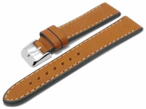 Watch strap -Eco Rodeo- 24mm light brown certified nature leather vegetable light stitching BECO (width of buckle 22 mm) - Bild vergrößern