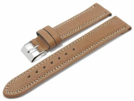 Watch strap -Eco Sportive- 22mm brown calf´s leather grained light double stitching by BECO (width of buckle 20 mm) - Bild vergrößern