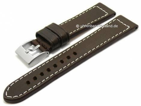 Watch strap -Vintage- 24mm dark brown leather vegetable tanned light stitching by BECO (width of buckle 22 mm) - Bild vergrößern