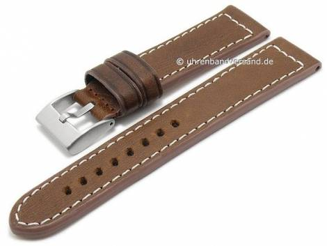 Watch strap -Vintage- 24mm brown leather vegetable tanned light stitching by BECO (width of buckle 22 mm) - Bild vergrößern