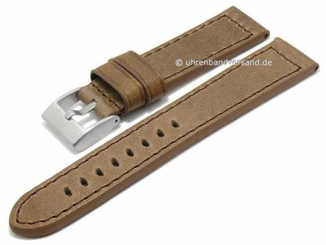 Watch strap -Vintage- 24mm beige leather vegetable tanned stitched by BECO (width of buckle 22 mm) - Bild vergrößern