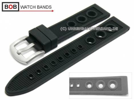 Watch band 20mm black caoutchouc racing look matt for Breitling by BOB (width of buckle 18 mm) - Bild vergrößern