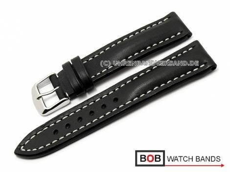 Watch band 22mm black Marino saddle leather for Breitling by BOB (width of buckle 20 mm) - Bild vergrößern