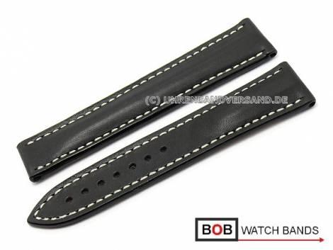 Watch band 22mm black Marino saddle leather for Omega clasp by BOB (width of buckle 18 mm) - Bild vergrößern