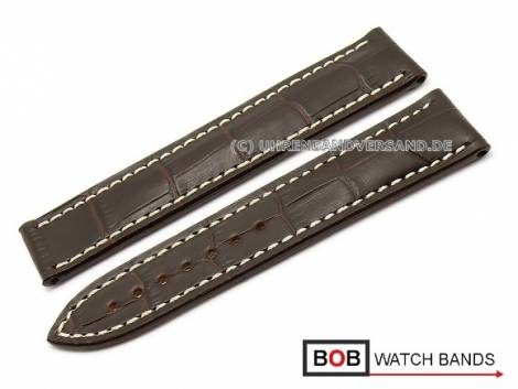 Watch band 22mm dark brown Marino Gator for Omega clasp by BOB (width of buckle 18 mm) - Bild vergrößern