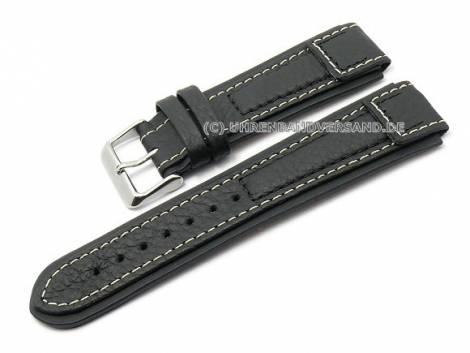 Watch strap -Terrasco- 22mm black calf´s leather grained by BECO (width of buckle 22 mm) - Bild vergrößern