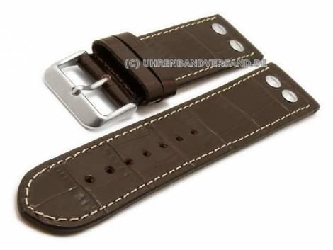 Watch strap -Lindbergh- 24mm dark brown leather alligator grain light stitching (width of buckle 22 mm) - Bild vergrößern