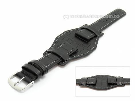 Watch band 20mm black with leather pad light stitching alligator-grain - Bild vergrößern