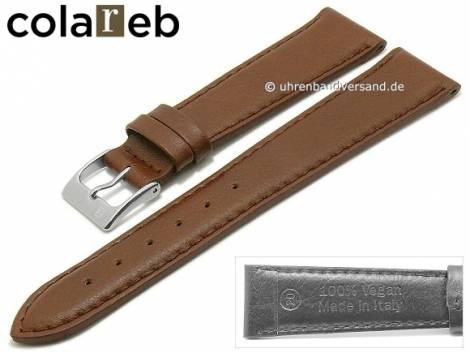 Watch strap -Sustain- 22mm dark brown synthetics leather like by COLAREB (width of buckle 18 mm) - Bild vergrößern