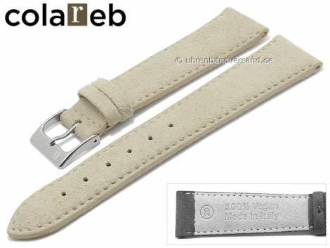 Watch strap -Ecosuede- 16mm beige synthetics suede like by COLAREB (width of buckle 14 mm) - Bild vergrößern