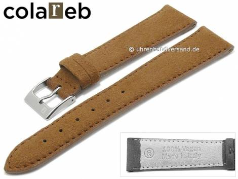 Watch strap -Ecosuede- 20mm light brown synthetics suede like by COLAREB (width of buckle 16 mm) - Bild vergrößern