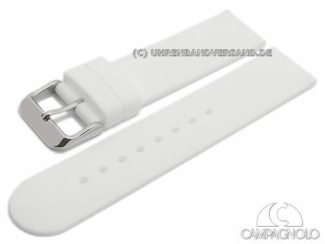 Watch strap 18mm white silicone smooth matt by CAMPAGNOLO (width of buckle 18 mm) - Bild vergrößern