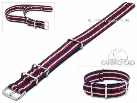 Watch strap 24mm dark blue synthetic/textile NATO-style one piece strap with red white stripes by CAMPAGNOLO - Bild vergrößern