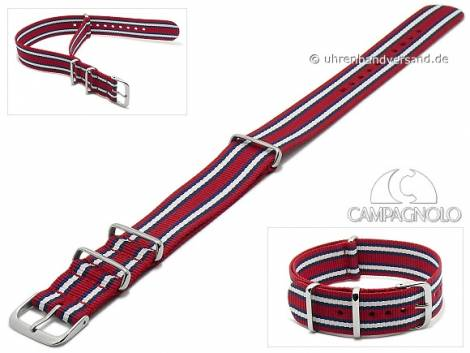 Watch strap 24mm red synthetic/textile NATO-style one piece strap with blue white stripes by CAMPAGNOLO - Bild vergrößern