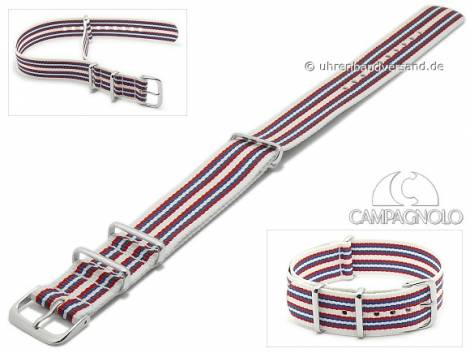 Watch strap 24mm white synthetic/textile NATO-style one piece strap with red blue stripes by CAMPAGNOLO - Bild vergrößern