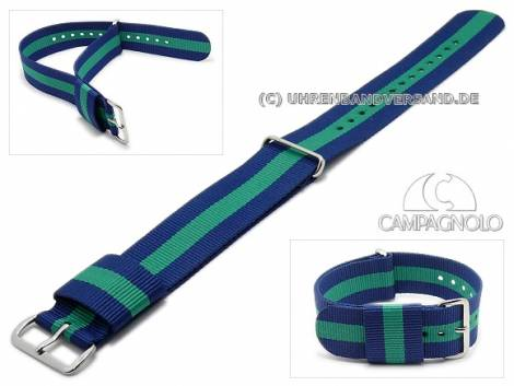 Watch strap 22mm blue synthetic/textile NATO-style one piece strap with green stripe by CAMPAGNOLO - Bild vergrößern