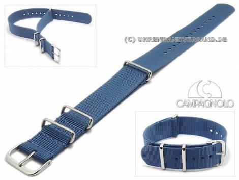 Watch strap 24mm blau synthetic/textile NATO-style one piece strap by CAMPAGNOLO - Bild vergrößern