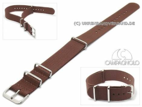 Watch strap 24mm brown synthetic/textile NATO-style one piece strap by CAMPAGNOLO - Bild vergrößern