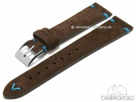 Watch strap 20mm dark brown leather velvety (velour) blue stitching by CAMPAGNOLO (width of buckle 16 mm) - Bild vergrößern