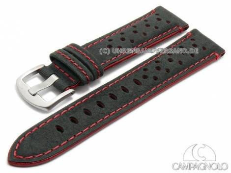 Watch strap 22mm black leather racing look grained red stitching by CAMPAGNOLO (width of buckle 20 mm) - Bild vergrößern