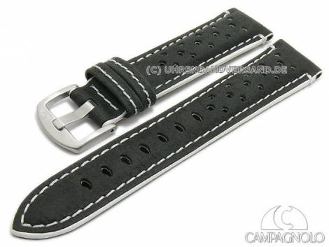 Watch strap 22mm black leather racing look grained white stitching by CAMPAGNOLO (width of buckle 20 mm) - Bild vergrößern