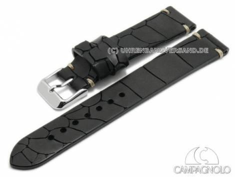 Watch strap 18mm black leather alligator grain antique look light stitching by CAMPAGNOLO (width of buckle 16 mm) - Bild vergrößern