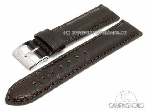 Watch strap 22mm dark brown leather alligator grain padded stitched by CAMPAGNOLO (width of buckle 20 mm) - Bild vergrößern