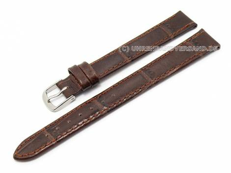 Watch band XL 12mm dark brown genuine leather alligator-grain (width of buckle 10 mm) - Bild vergrößern