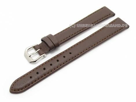 Watch band XL 12mm dark brown grained surface (width of buckle 10 mm) - Bild vergrößern