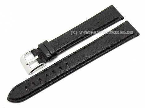 Watch strap XL super long 20mm black genuine leather stitched by Condor (width of buckle 18 mm) - Bild vergrößern