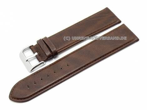 Watch strap XL super long 26mm dark brown genuine leather stitched by Condor (width of buckle 24 mm) - Bild vergrößern