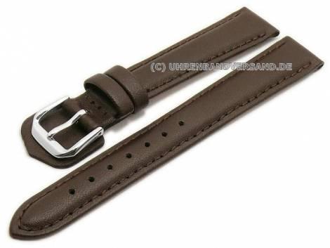 Watch strap 12mm dark brown leather grained stitched by CONDOR (width of buckle 10 mm) - Bild vergrößern