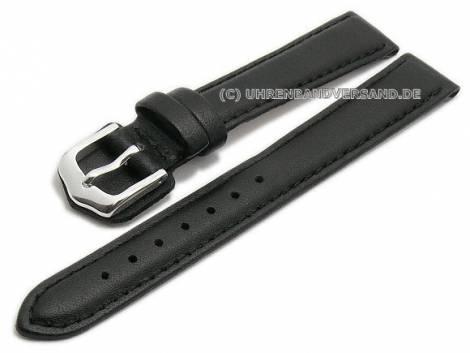 Watch strap 14mm black leather grained stitched by CONDOR (width of buckle 12 mm) - Bild vergrößern