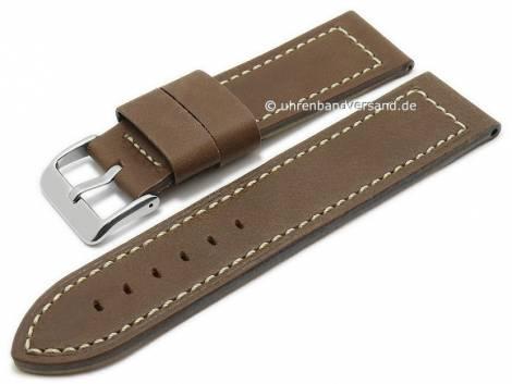 Watch strap 26mm brown vintage look smooth white stitching by Condor (width of buckle 26 mm) - Bild vergrößern