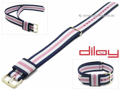 Watch strap 22mm dark blue nylon white and pink stripes one piece strap by DILOY - Bild vergrößern
