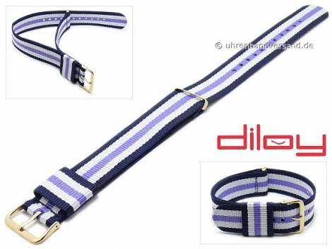 Watch strap 22mm dark blue nylon white and lilac stripes one piece strap by DILOY - Bild vergrößern