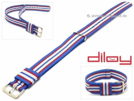 Watch strap 22mm blue nylon red and white stripes one piece strap by DILOY - Bild vergrößern