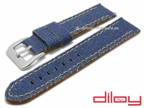 Watch strap 24mm blue textile/leather Jeans look light stitching by DILOY (width of buckle 24 mm) - Bild vergrößern